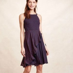 Anthro Eva Franco Maryanne Navy/Red Dot Dress